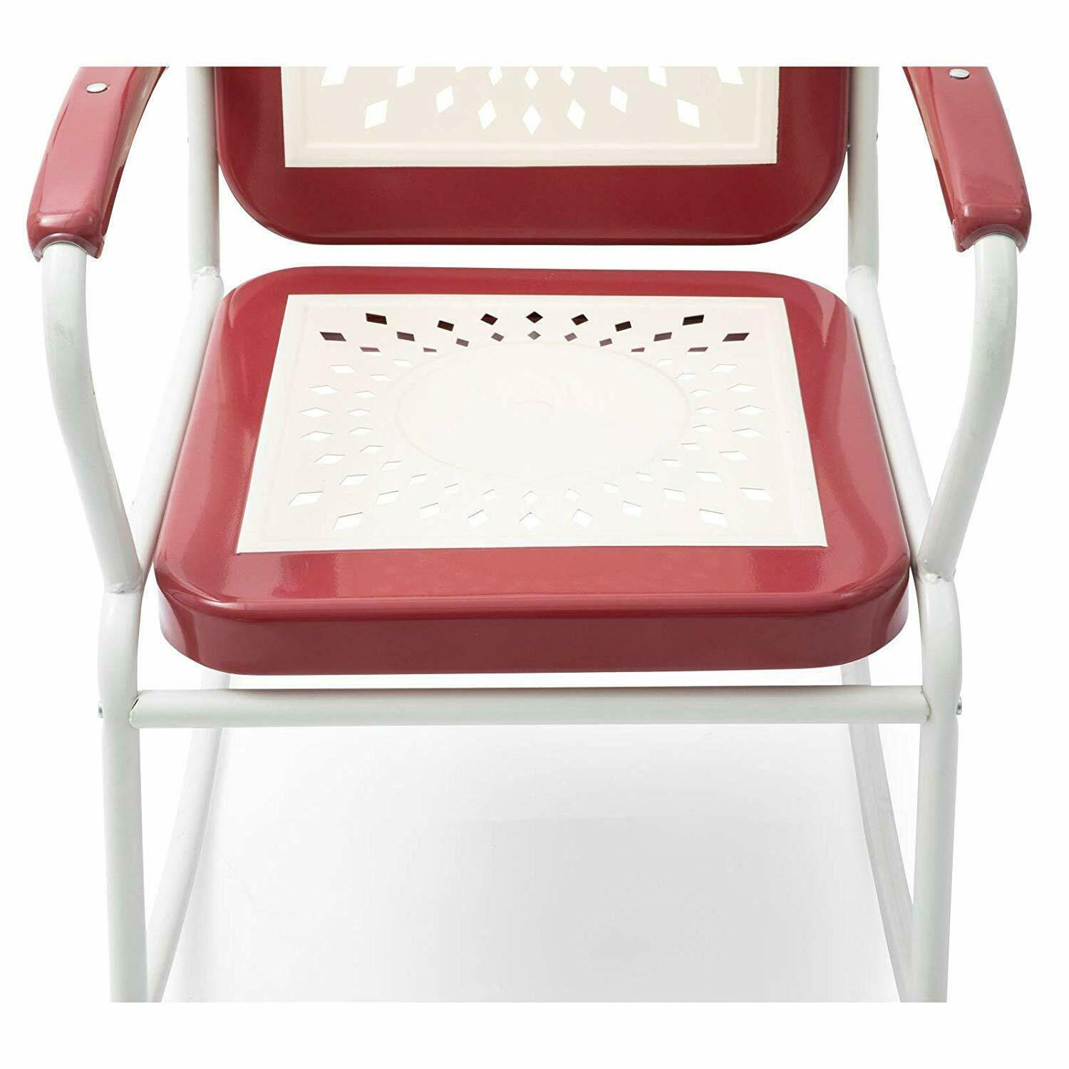 Retro Vintage Style Red White Metal Patio Rocking Chair Outdoor Furniture