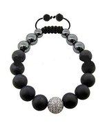 Handmade Black Beads with Central Crystal White Ball Shamballa Bracelet - $28.71