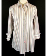 LANDS' END Size 18W Multi-Striped Stretch Cotton Blouse Shirt 3/4 Sleeves - $12.99