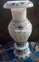 "12"" White Marble Flower Pot Rare Lapis Stone Inlay Filigree Art Marquetry Decor - $317.20"