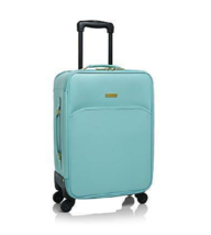 JOY IMAN Genuine Leather Luxury City Carry On Dresser Aqua