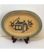 """Oval Platter America Pfaltzgraff MAFA Folk Art House 10"""" x 14"""" - $19.34"""