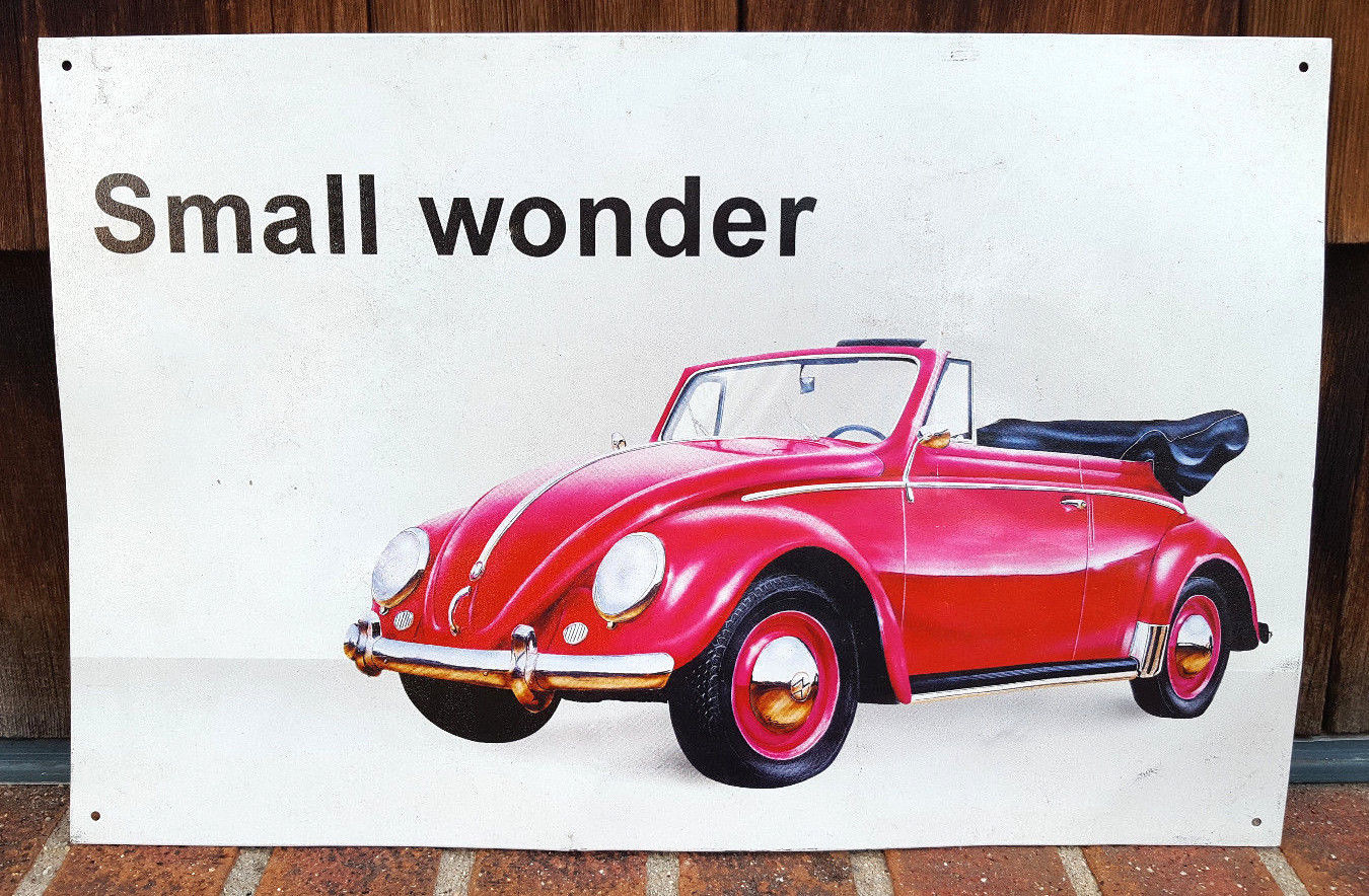 "Primary image for VW Volkswagen Beetle Small Wonder Metal Sign 16""X10"" by Desperate Enterprise-Bug"