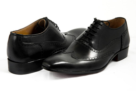 Shell Cordovan Men Hand Made Treasure Bearer Gaspare Wingtip Black Leather Shoes image 1