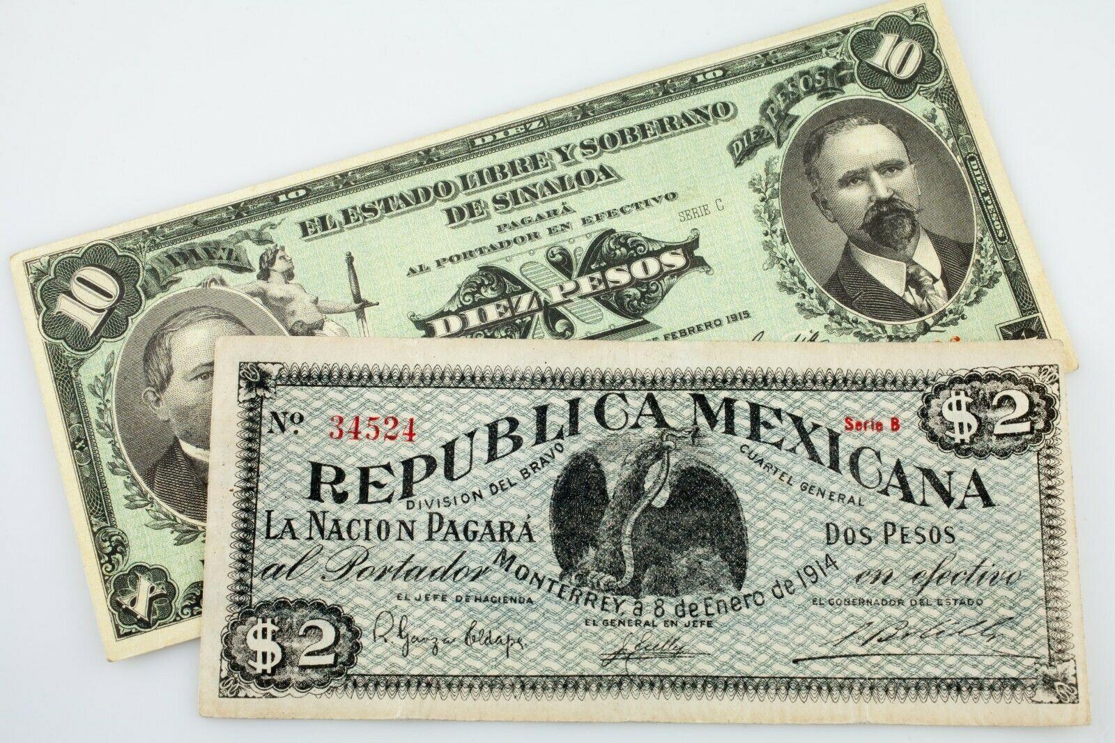 Lot Of 2 México Revolution Notas ( 10 Pesos y 2 Pesos ) XF / Au Estado