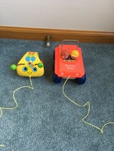 2 VINTAGE 1973 Fisher Price Bouncing Buggy & Crazy Crawler Lady Bug 1974... - $21.75