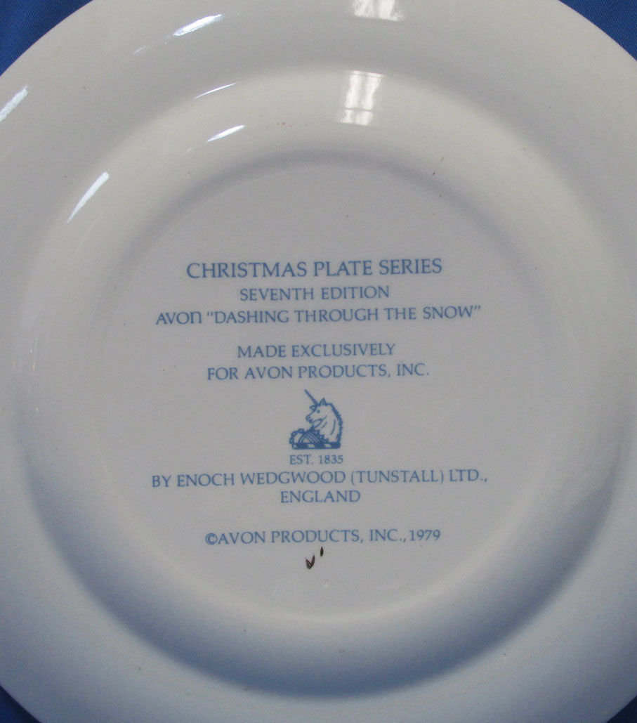 Vintage 1979 Enoch Wedgwood Collectors Plate Avon Christmas Dashing Through Snow