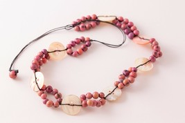 Purple & Pink Acai Seed Nut Beads Beaded Mother of Pearl Button Boho Nec... - $11.88