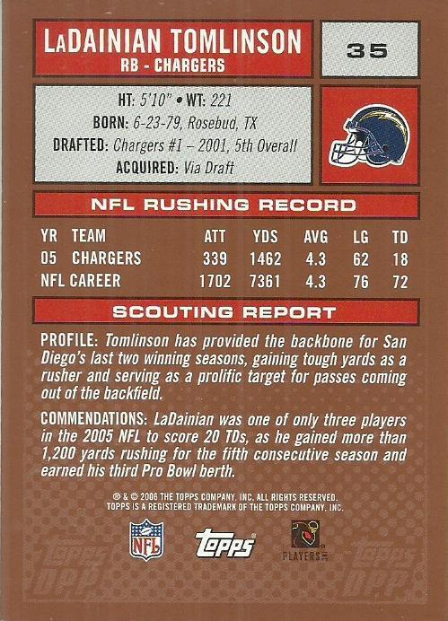 2006 Topps Draft Picks and Prospects #35 LaDainian Tomlinson