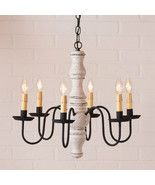 """GETTYSBURG"" COLONIAL CHANDELIER - 6 Arm Light in Textured White Finish USA MADE - $356.35"