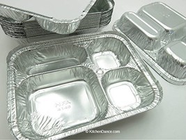 Disposable Aluminum 4 Compartment T.V Dinner Trays with Board Lid by Handi-Foil