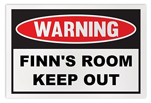 Personalized Novelty Warning Sign: Finn's Room Keep Out - Boys, Girls, Kids, Chi