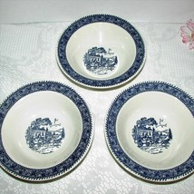 Homer Laughlin Shakespeare Rim Cereal Soup Bowls 3 Blue & White Stagecoach House - $12.99