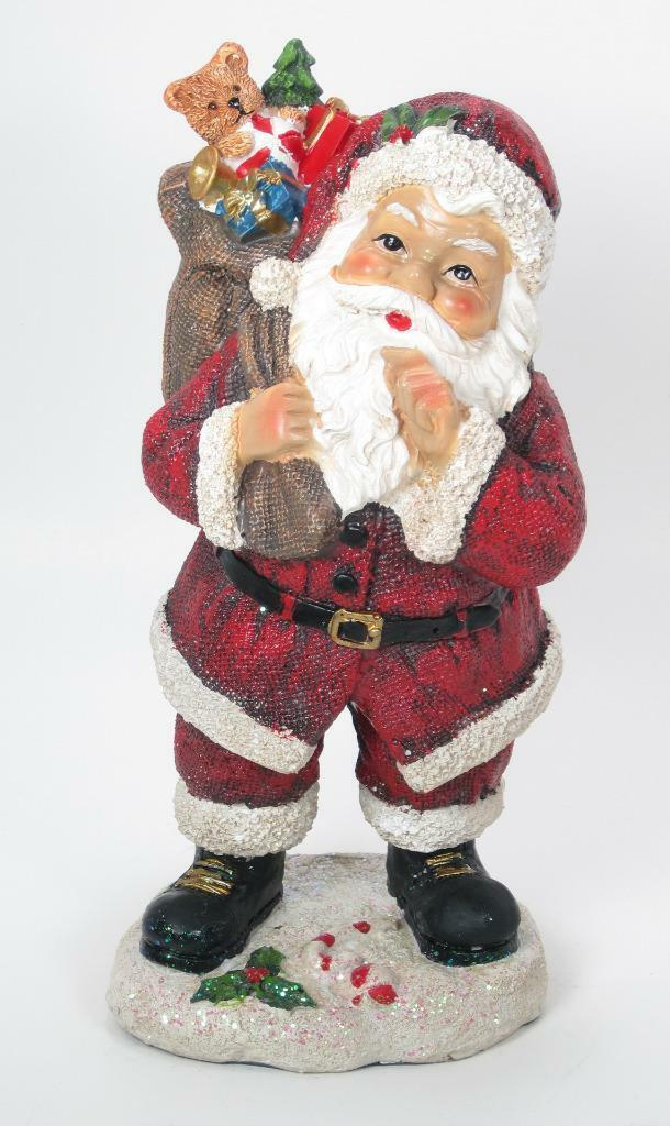 "Primary image for 8.5"" Tradidtional Portly Santa Claus Figurine Holding Toy Sack Christmas Decor"