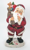 "8.5"" Tradidtional Portly Santa Claus Figurine Holding Toy Sack Christmas Decor - $12.82"