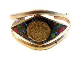 Vintage Mexican Sterling Silver Aztec Calender Cuff Bracelet - $109.27