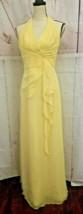 David's Bridal Formal Long Maxi Dress Size 2 Halter Neckline Yellow  - $24.74