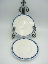 Breton Blue by Oneida Saucer Plate 6 1/4in  Set of 2 Blue White Scroll - $12.19