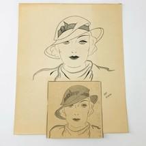 Vintage Women's Fashion Sketch Drawing Flapper Art 2/13/33 Signed RAF 8 ... - $23.75