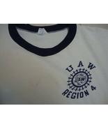 Vintage U A W UAW Region 4 Champion Blue Bar Tag 100% Cotton USA  T Shirt S - $24.94