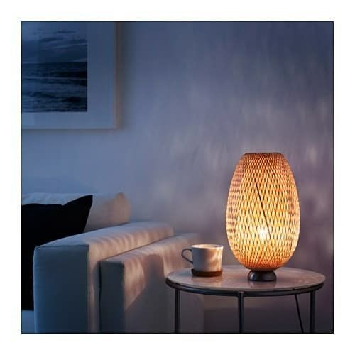 IKEA BÖJA Table lamp with LED bulb, nickel plated, bamboo image 3