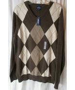 Old Navy L Brown Argyle Pullover V Neck Sweater V Neck Cotton Large New - $17.81