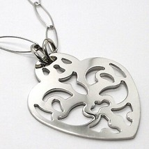 Necklace Silver 925, Chain Oval, Heart Flat Perforated, Pendant image 2