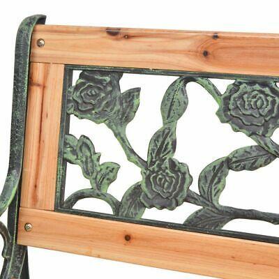 vidaXL Patio Wooden Garden Bench w/ Backrest Vintage Seat Diamond/Rose Design image 6
