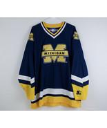Vintage STARTER Michigan Wolverines Hockey Style Jersey Men's Size XL Blue - $49.49