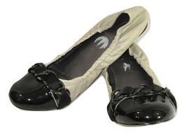 Max Studio Shoes Ballet Flats Womens Size 8.5 Black Ivory Leather Chain ... - $14.84