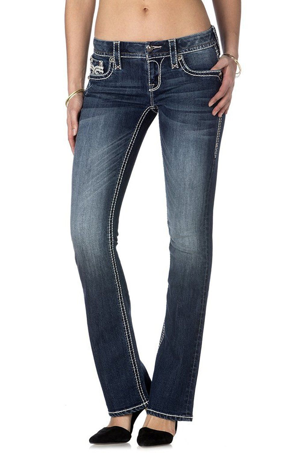 NEW ROCK REVIVAL WOMEN'S PREMIUM BOOT CUT LIGHT DENIM JEANS PANTS ROYAL B202