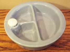 Vintage Hankscraft Porcelain Warming Baby Dish Blue w Porcelain Stopper ... - $20.16