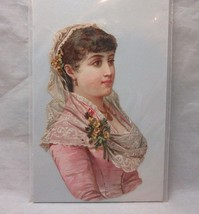 Victorian embossed die cut. Lady in pink dress & lace - $8.99