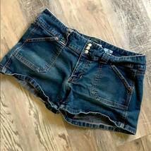 Old Navy Ultra Low Waist Stretch Denim Shorts 12 Jean Med Wash Pockets  - $11.30