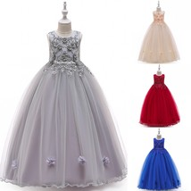 Long Flower Girl Dress Beaded Embroidery Teens Formal Birthday Party Kid... - $32.99