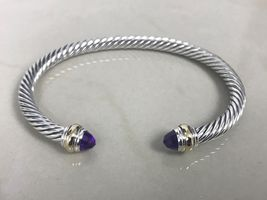 David Yurman Sterling Silver 14k Gold Amethyst 5mm Cable Classic Bracelet - $274.99