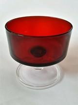2 Vintage ARCOROC Sherbet Glasses France Ruby Red Clear Glass Stem - $23.71