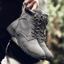 Fashion Men Winter Wool Warm Sport Lace Up Ankle Boots Shoes