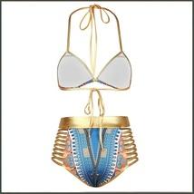 Blue Design Pattern Halter Top High Waist Gold Straps Bandage Bikini Swim Suit image 3