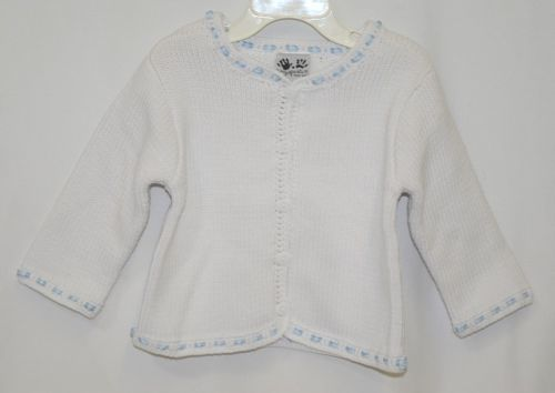 Fingerprints New York White Blue Ribbon Button Sweater 12 Month