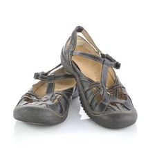Jambu Black Leather Cut Out Sandals Closed Toe Outdoor Trail Shoes Womens 8.5 M - $34.52