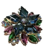 VINTAGE JULIANA KITE SHAPE RHINESTONE BLUE GREEN PURPLE LAYERED BROOCH PIN - $95.00