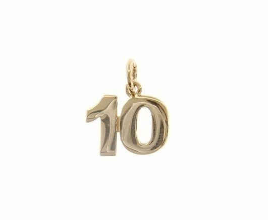 18K YELLOW GOLD NUMBER 10 TEN PENDANT CHARM, 0.7 INCHES, 17 MM, MADE IN ITALY