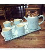 Blue Europen Ceramic Teaset with Tray Coffee Milk Tea Cup Set Wedding Gifts - $169.50