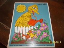 vintage 1979 playskool sesame street big bird flower garden wooden frame... - $9.99