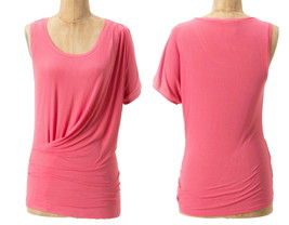 Anthropologie Vanished Drape Tank Large 10 12 Coral Pink One Sleeve Blouse Top - $26.60