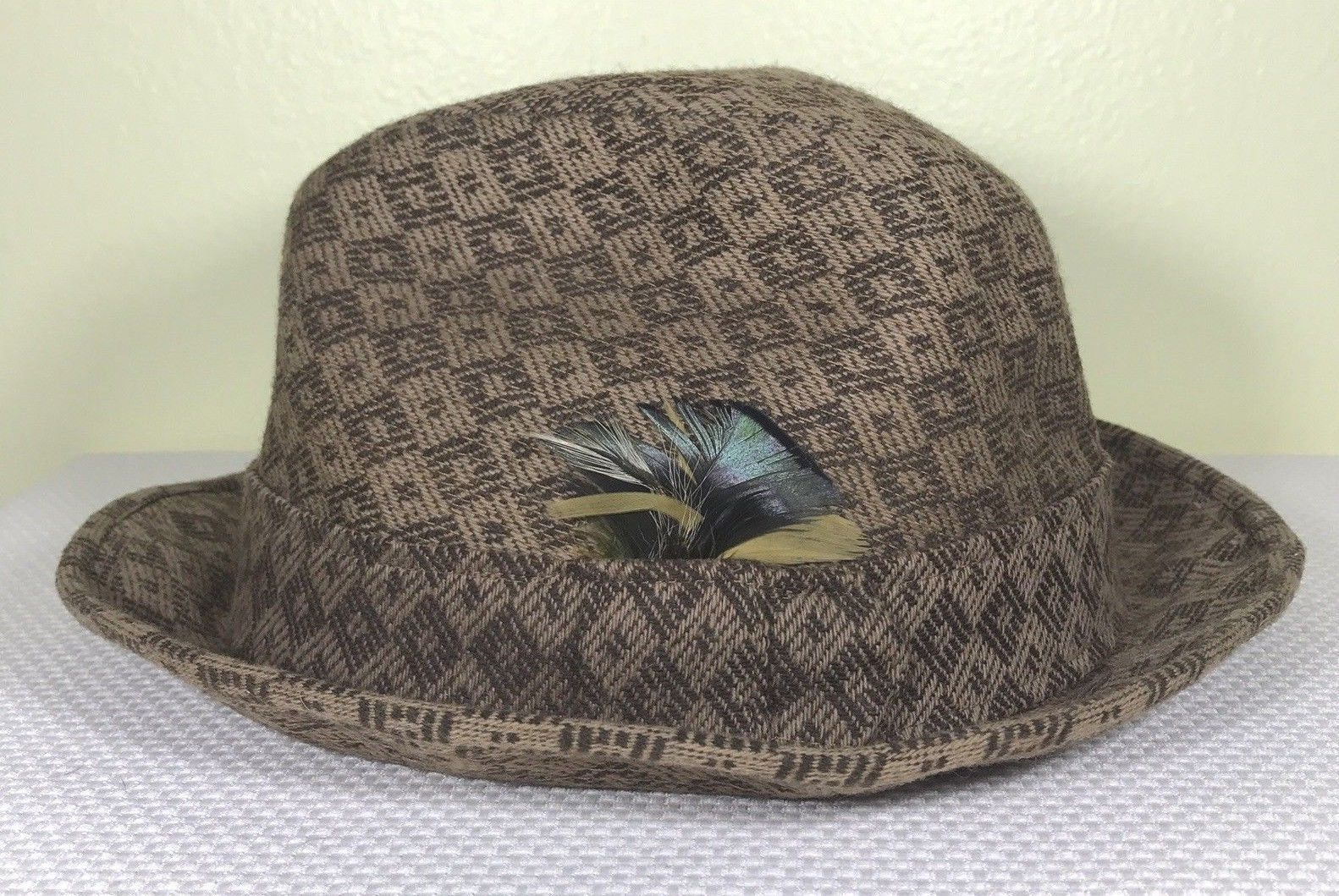 Resistol 7 1/4 Fedora 100% Wool Hat Brown Pattern Snap-Back Crushable Feather