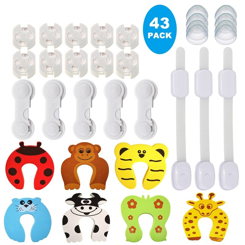 43 Pcs Baby Proofing Safety Products Home Cartoon Door Stopper Safety Lock Corne