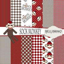 sock monkey inspired Scrapbook Papers, 12 Sheets, Custom Designs - $6.50