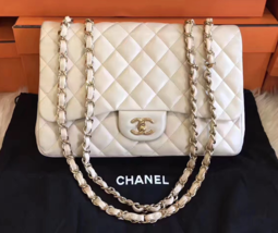 AUTHENTIC CHANEL Beige Lambskin Quilted Jumbo Single Classic Flap Bag GHW